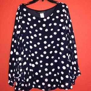 Coco Bianco Women's XL Navy and White Blouse